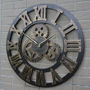 ساعة حائط معدنية مزخرفة تدق ساعة حائط ديكور الكوارتز الروماني