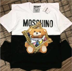 Été 2020 nouvelle mode ours T-shirt imprimé pur coton pour les hommes et les femmes amateurs de grande taille lâche manches courtes