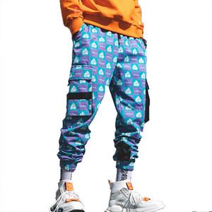 Корейская уличная одежда Harajuku Pants Мужская мода Street Style Брюки-карго Мужчины Hip Hop Печатные Фиолетовые спортивные штаны Танцевальные брюки-гарем