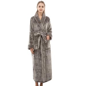 MUQGEW night dress women bathrobe cotton robe Women's Winter Lengthened Coralline Plush Shawl Bathrobe Long Sleeved Robe Coat#G3
