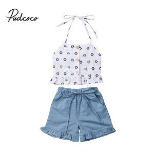 Bebek Kız Bebek Giyim Çiçek Kayış Halter Üst + Kot Şort Pants 2PCS Kıyafetler Çocuk Bebek Giyim Setleri