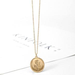 Délicate couleur or rose paillettes collier pendentif pièce ronde collier géométrique pour les femmes dame