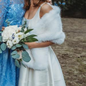2019 новые свадебные накидки из искусственного меха платок для деревенской зимы свадьба гость подружка невесты выпускного вечера теплый открытый украл болеро шарф плечами свободный размер
