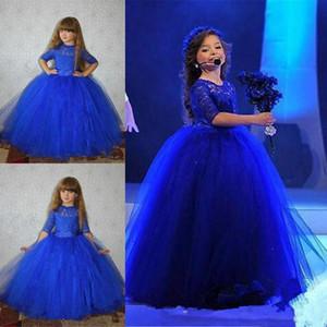 Abito reale Blue Ball Flower Girl Dresses manicotto mezzo del merletto Appliques dolci per bambini abiti convenzionali di spettacolo vestiti dalla ragazza