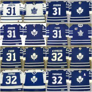 Cucita Toronto Maple Leafs 31 Curtis Joseph 2001 31 Grant Fuhr 1991 32 NICK KYPREOS 32 Steve Thomas IAFRATE Vintage Hockey maglie