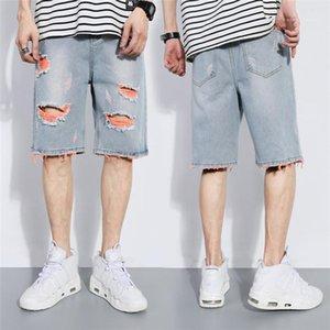 Shorts Demin Casual solta Hetero Buraco curto verão skate Moda Masculina Buraco Demin Shorts Mais de Mens Tamanho