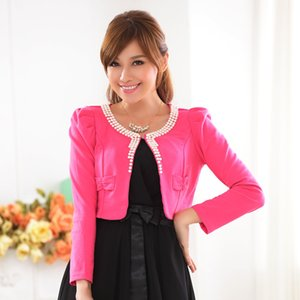 HanOrange 봄 여성 달콤한 구슬 니트 목도리 에어컨 여성 짧은 재킷