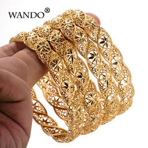 Wando 4pcs lot Ethiopian Gold Color Wedding Bangles For Women Bride Bracelet African Jewelry Ramadan Middle East Items Gifts B12 J190703