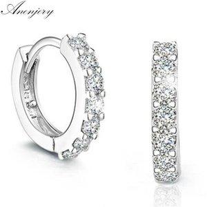 Anenjery 925 Sterling Silver Earrings Sparkling Single Row Zircon Stud Earrings For Women brincos oorbellen pendientes S-E14