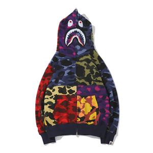 새로운 도착 애호가 색상 Stitching Camo 캐주얼 스웨터 코트 Teenager Personality Tide Brand 가디건 Full Zipper Hoodies