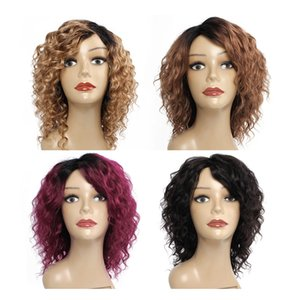 Kisshair глубокой волны человеческих волос парика естественного цвет мед блондинка Средних коричневые бургундской машина из париков 10-дюймовый бразильский индийский волос людей