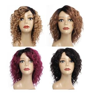 Kisshair onda profunda cabelo humano peruca Natural cor mel loiro médio marrom Borgonha máquina fez perucas de cabelo humano índio brasileiro de 10 polegadas