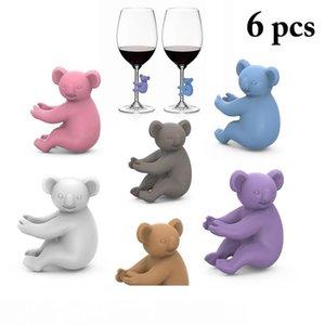 Koala Copa reconocedor de la copa de vino Copa de silicona Identificador Etiquetas Partido de vino del vidrio Tag Dedicado 6pcs conjunto