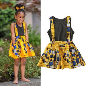Verão 2020 Criança roupa da menina Set Grey camisa sem mangas Vest Suspender Skirt 2pcs Ins Bohemia Nova