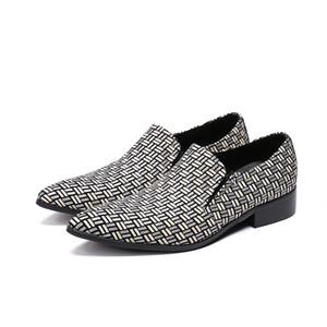 Estilo britânico Gingham Genuína Homens De Couro paty prom sapatos Masculinos Apontou Toe Homens Partido Sapatos Deslizamento em Negócios Vestido Sapatos