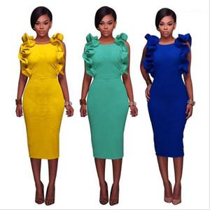Modo dei vestiti del manicotto della farfalla di colore solido O Collo Midid Abiti Le nuove donne del progettista del progettista Abiti Sumemr Donne