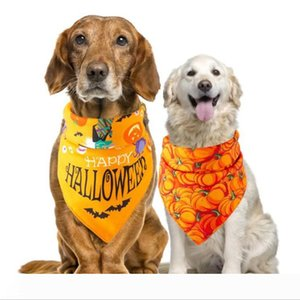 Halloween Pet Saliva Towel Fashion Pumpkin Head Spider Skeleton Printed Dog Bandana Scarf Holiday Dog Apparel Accessories Decor WY407Q