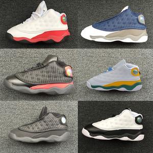 Zona de juegos para niños pequeños XIII 13s verdaderos zapatillas de deporte zapatos rojos Los bebés criados Calzado Flint Pequeño baloncesto Niños 13 Corte Negro Blanco Púrpura Naranja