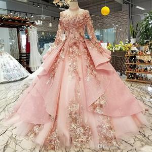 2019 el más nuevo diseño rosa vestidos de baile cuello alto de manga larga con cordones volver Dubai Puffy vestido de fiesta vestidos de noche musulmán cena vestido de fiesta