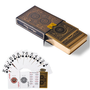 56pcs de haute qualité / plate-forme imperméable en plastique PVC cartes de poker de bord en or serti pokers magiques de plate-forme de cartes à jouer de collection durables