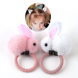 anillo de pelo de conejo lindo bola de pelo de la cuerda del amarre femenina versión coreana de los accesorios para el cabello cuerda de los niños de la goma gorro