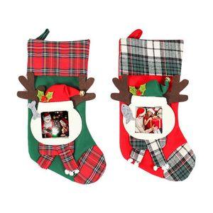 Chrismas del Socking bolsas de regalo lindo de astas de bricolaje colgantes patrón del árbol de Navidad Calcetines regalo bolsa de decoración del festival calcetines caramelo Suministros 08