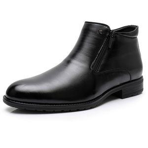 Business Boots Mens Winter Ankle Boots Men Leather Double Zipper Side Thick Artificial Fur Boots Men Winter Dress Shoes