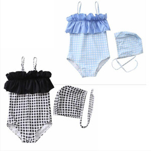 Baby Girls Swimsuits Bikini Kids Plaid Lace One Piece Hat Suits Summer Fashion Slip Cap Bathing Suits Children Cute Swimwear Sets BYP586