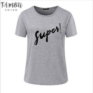 T Shirt Women T Shirt Digital Super Letter Print Short Sleeved Summer Style Tshirt Strange Cheap Cloth Vestidos Ropa Mujer V Neck