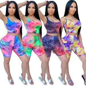Women 2 piece Outfits sets Summer fashion clothes tie-dye vest Biker Shorts tracksuits sportswear casual clothing
