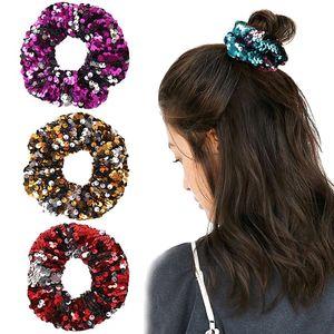 Sequin Scrunchie Glitter Hair Ties filles Porte-queue de cheval corde Bandeaux élastiques Chouchous pour femmes Accessoires cheveux de 1031A