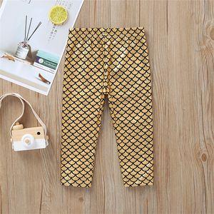 Da personalidade do bebê menina Tendência sereia calças 0-5Y amarelo fluorescente magros roupas leggings crianças calças crianças desenhador meninas JY406