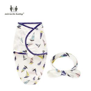 Sommeil de bébé Swaddle Blanket avec nœud Bandeau Set Animaux Imprimer Swaddle Wrap coton nouveau-né Réception Blanket SleepSack enfant en bas âge