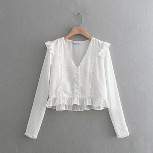 BBWM MULHER Primavera Verão Mulheres Preto Branco Splice Camisas 2019 Nova Moda Voile Manga Longa Com Decote Em V Lace Blusa Tops