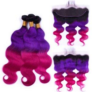 Silanda Capelli 3 Tone Ombre #T 1B / viola / rosa corpo Onda Rossa di Remy dei capelli umani del tessuto Bundles 3 trame Con 13x4 Frontal del merletto di trasporto