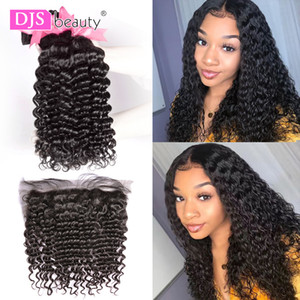 Extensions & Wigs Curly Frontal Remy Human Hair Bundles With Closure Deep Wave Brazilian Hair Weave Bundles With Closure DJSbeauty