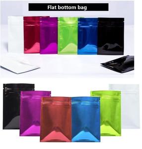 14 * 20 cm * 16silk Renk Alüminyum Folyo Çanta Aluminize Kapatma Çay Poşeti Düz taban torbayı Packaging cebe