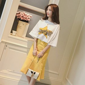 TiLeewon 2019 Summer New Letter T-Shirt Casual Two Piece Set Top + Dress Ladies Two Piece Set Skirt With Cartoon Printed