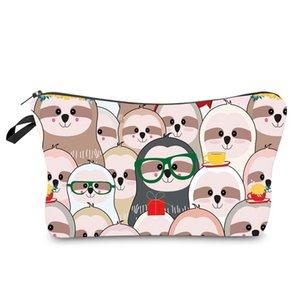 Animales de la impresión bolsas de cosméticos Mujeres lindo bolso de viaje de artículos de tocador Organizador bolsa Sloth Imprimir maquillaje de dibujos animados bolsa HHA1169