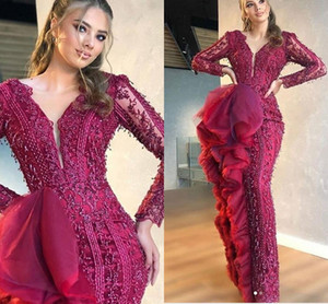 Luxury Burgundy Beaded Mermaid Prom Dresses Lace Appliqued Deep V Neck Evening Gown Plus Size Formal Party Pageant Wear