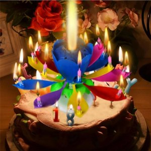 1pcs Amazing Two Layers with 14 Small Candles Lotus Happy Birthday Spin Singing Romantic Musical Flower Party Light Candles Y200531