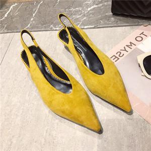Venda quente-Back camper camurça rasa pontudo calcanhar médio único sapato
