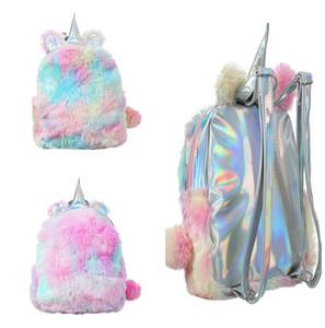 유니콘 봉제 인형 배낭 귀여운 소녀 어깨 가방 타이 염료 청소년 학교 가방 가을 겨울 배낭 야외 여행 스토리지 가방 Packsack