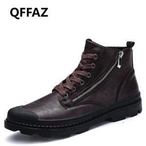 QFFAZ Hommes Bottes en cuir PU imperméable Fermeture éclair neige Bottes confortables Brown Homme Noir Hommes lacent Chaussures pour l'hiver Automne
