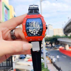 최고 품질 새로운 패션 남성 패션 시계 고무 스트랩 자동 기계공 현대 클래식 시계의 모든 기능 사용 가능한 RM Reloj 선물