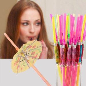 Handicraft Drinking Straw Kids Birthday Party Wedding Fluorescence Umbrella Decor Straws Bar Disposable Colour Easy Carry