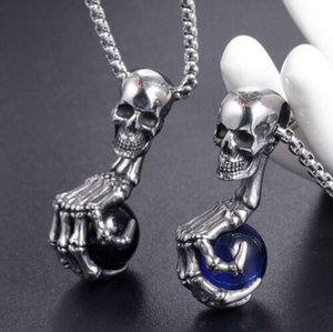 Fashion Punk Skull Stainless Steel Hip Hop Vintage Pendant Necklace Men's Goth Hand Bone Necklace Jewelry