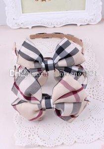 Banda 3pcs muchachas de la manera de Hairbands del Bowknot de la tela escocesa de la venda del pelo de Hairband de la artesanía para los niños nuevo llega el corchete del pelo