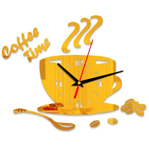 Sticker Home Decor Adhesive Modern Kitchen 3D Coffee Acrylic Numerals Wall Clock Household Gift Mute Cup Shape Battery Powered