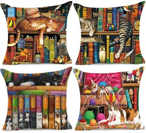 American Cats Art Cushion Cover 45x45cm Vintage Cat Books Oil Painting Decorative Beige Linen Pillow Case For Sofa Couch